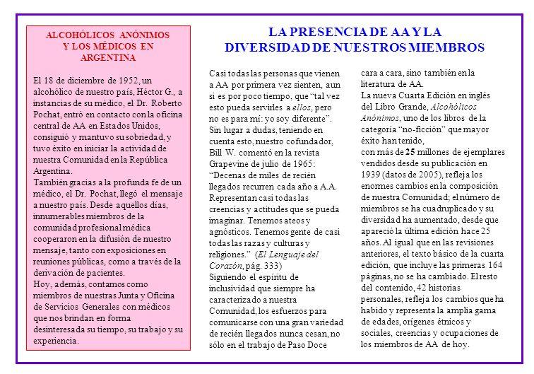 ALCOHÓLICOS ANÓNIMOS Y LOS MÉDICOS EN ARGENTINA El 18 de diciembre de 1952, un alcohólico de nuestro país, Héctor G., a instancias de su médico, el Dr