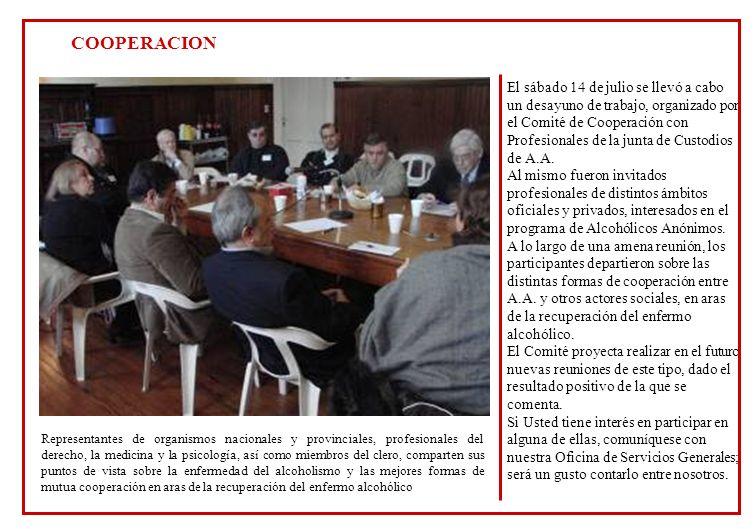 El sábado 14 de julio se llevó a cabo un desayuno de trabajo, organizado por el Comité de Cooperación con Profesionales de la junta de Custodios de A.