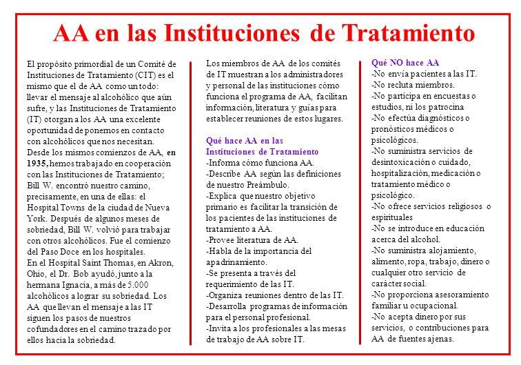El propósito primordial de un Comité de Instituciones de Tratamiento (CIT) es el mismo que el de AA como un todo: llevar el mensaje al alcohólico que