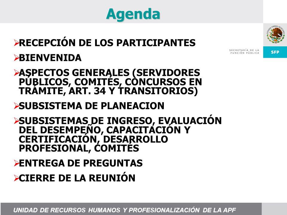 Agenda RECEPCIÓN DE LOS PARTICIPANTES BIENVENIDA ASPECTOS GENERALES (SERVIDORES PÚBLICOS, COMITÉS, CONCURSOS EN TRÁMITE, ART.
