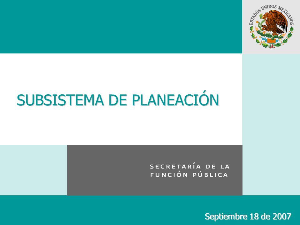 SUBSISTEMA DE PLANEACIÓN Septiembre 18 de 2007