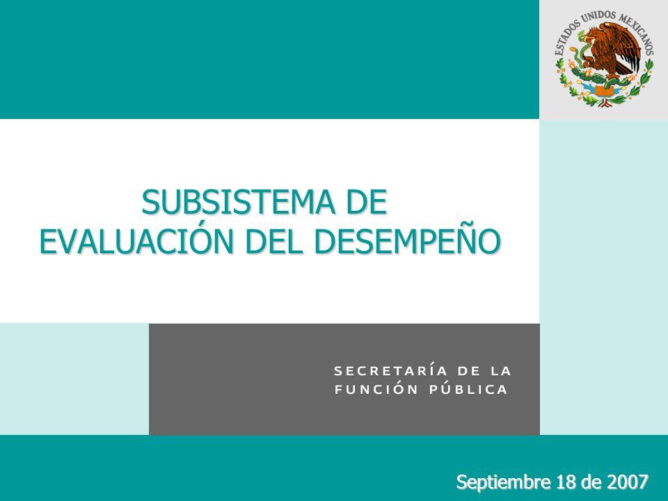 SUBSISTEMA DE EVALUACIÓN DEL DESEMPEÑO Septiembre 18 de 2007