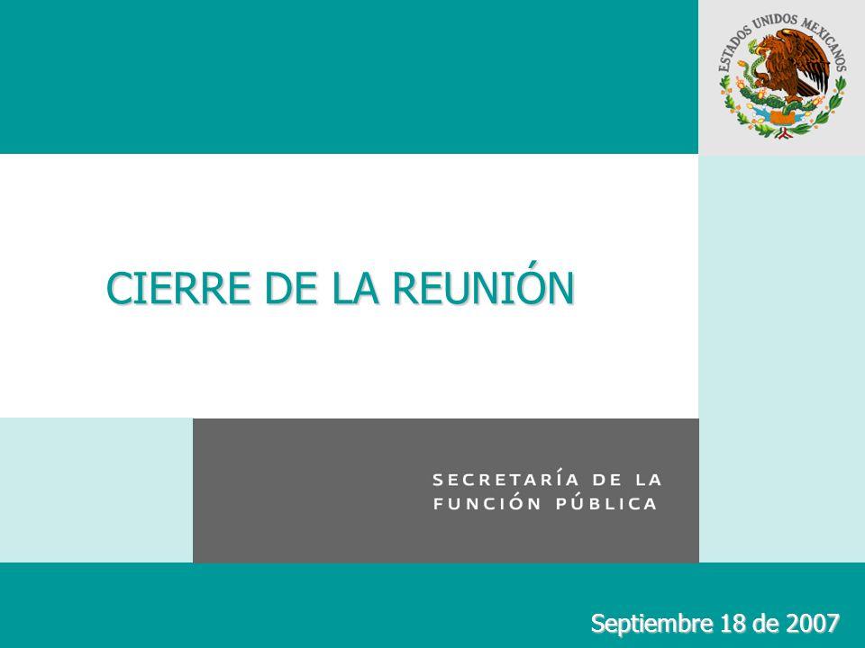 CIERRE DE LA REUNIÓN Septiembre 18 de 2007