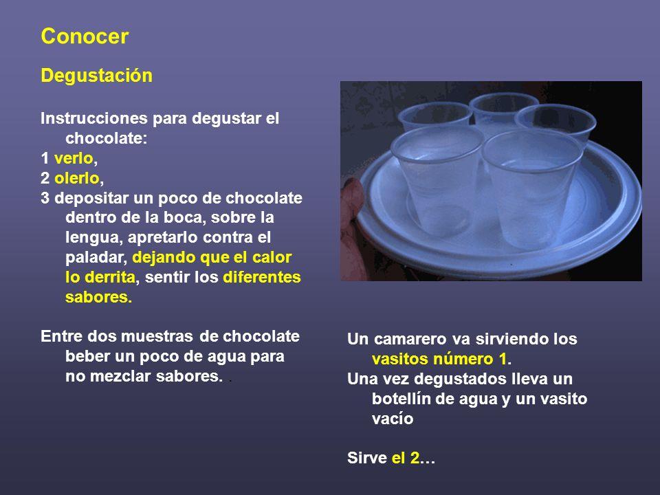 Conocer Degustación Instrucciones para degustar el chocolate: 1 verlo, 2 olerlo, 3 depositar un poco de chocolate dentro de la boca, sobre la lengua,