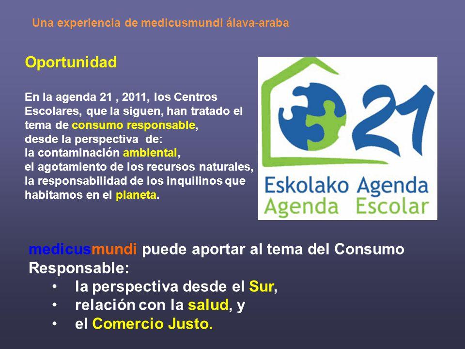 Oportunidad En la agenda 21, 2011, los Centros Escolares, que la siguen, han tratado el tema de consumo responsable, desde la perspectiva de: la conta