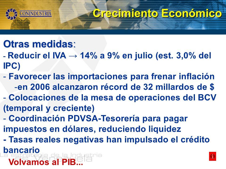 Otras medidas: - Reducir el IVA 14% a 9% en julio (est. 3,0% del IPC) - Favorecer las importaciones para frenar inflación -en 2006 alcanzaron récord d