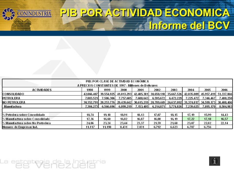 PIB POR ACTIVIDAD ECONOMICA Informe del BCV PIB POR ACTIVIDAD ECONOMICA Informe del BCV