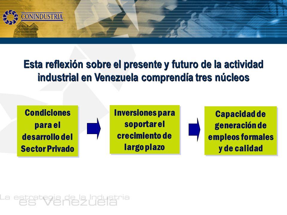 Esta reflexión sobre el presente y futuro de la actividad industrial en Venezuela comprendía tres núcleos Condiciones para el desarrollo del Sector Pr