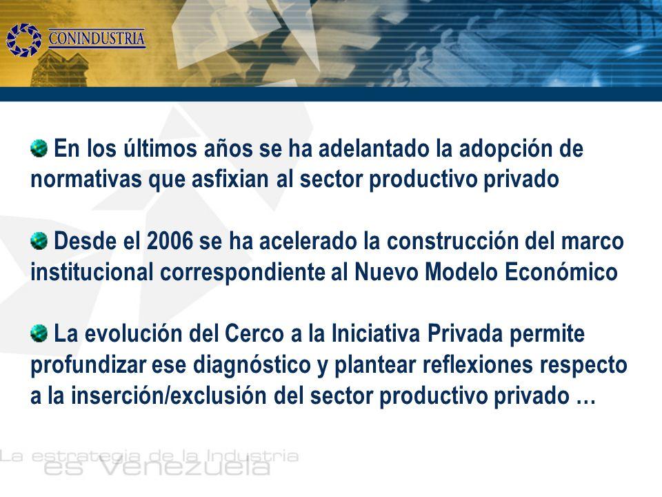 En los últimos años se ha adelantado la adopción de normativas que asfixian al sector productivo privado Desde el 2006 se ha acelerado la construcción
