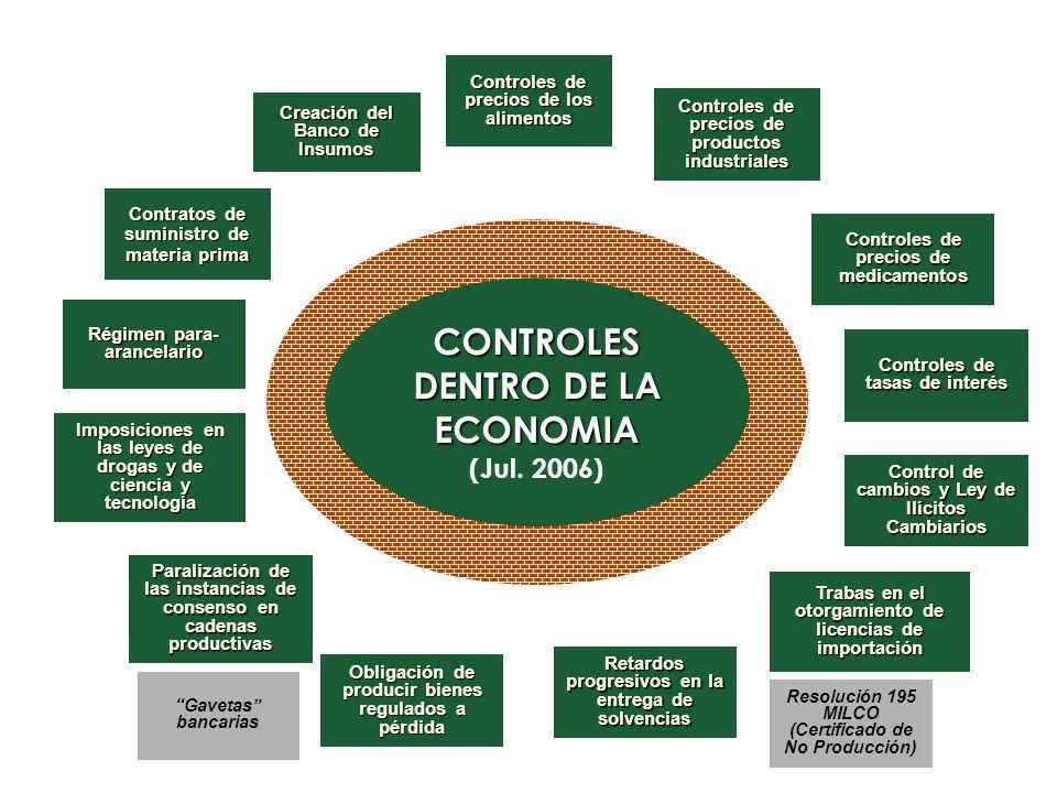 CONTROLES DENTRO DE LA ECONOMIA (Jul. 2006) CONTROLES DENTRO DE LA ECONOMIA (Jul. 2006) Controles de precios de los alimentos Controles de precios de