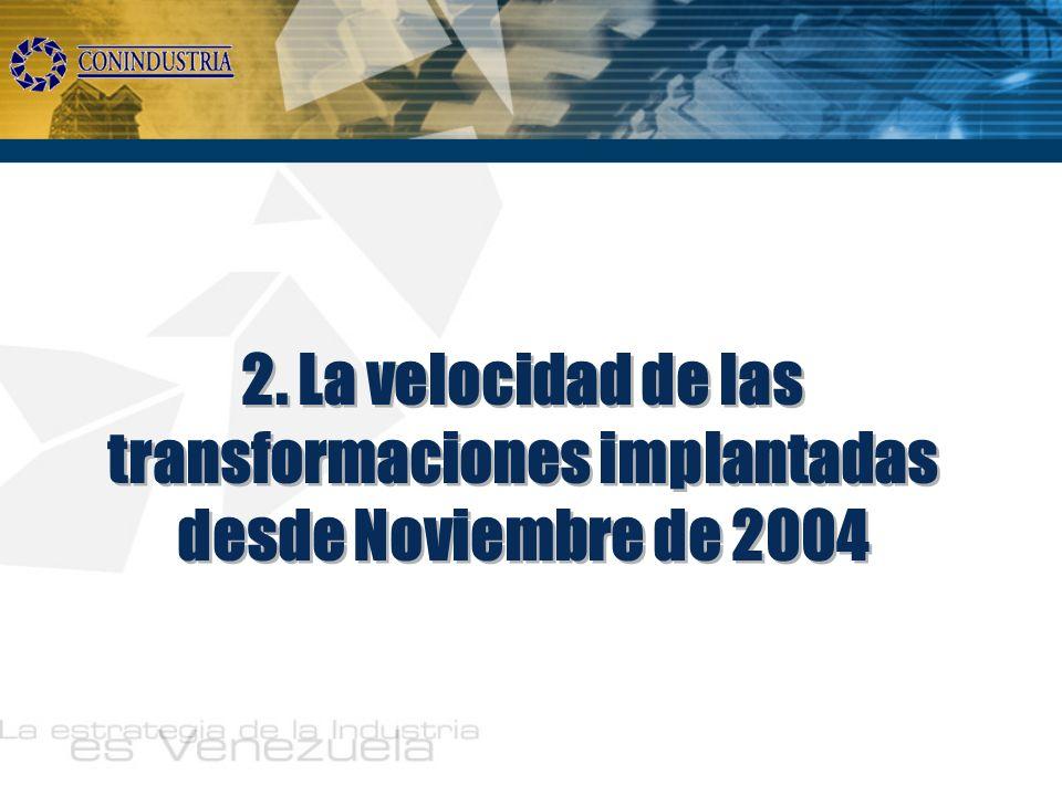 2. La velocidad de las transformaciones implantadas desde Noviembre de 2004