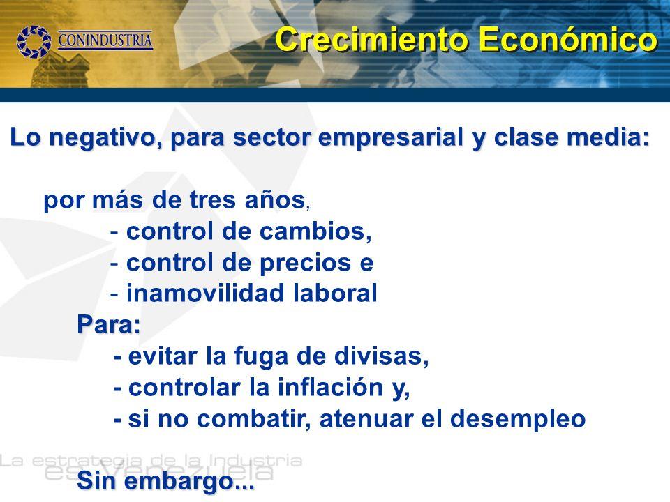 Lo negativo, para sector empresarial y clase media: por más de tres años, - control de cambios, - control de precios e - inamovilidad laboralPara: - e