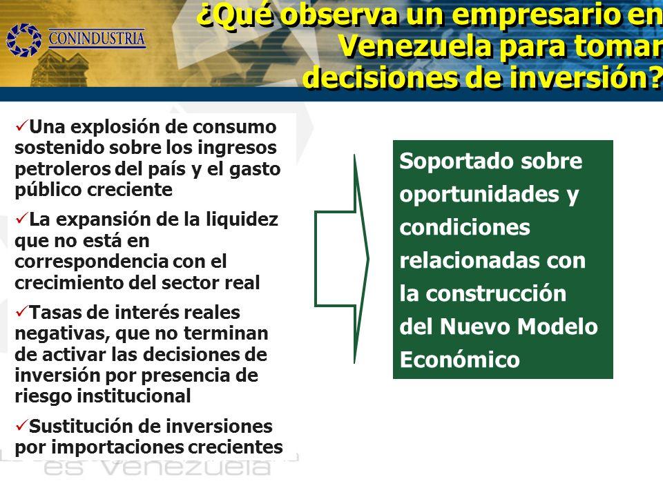 ¿Qué observa un empresario en Venezuela para tomar decisiones de inversión? Una explosión de consumo sostenido sobre los ingresos petroleros del país