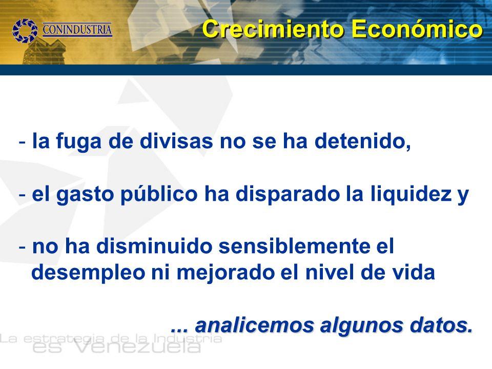 - la fuga de divisas no se ha detenido, - el gasto público ha disparado la liquidez y - no ha disminuido sensiblemente el desempleo ni mejorado el niv