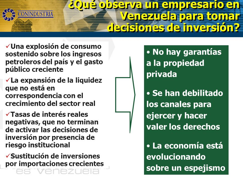 No hay garantías a la propiedad privada Se han debilitado los canales para ejercer y hacer valer los derechos La economía está evolucionando sobre un