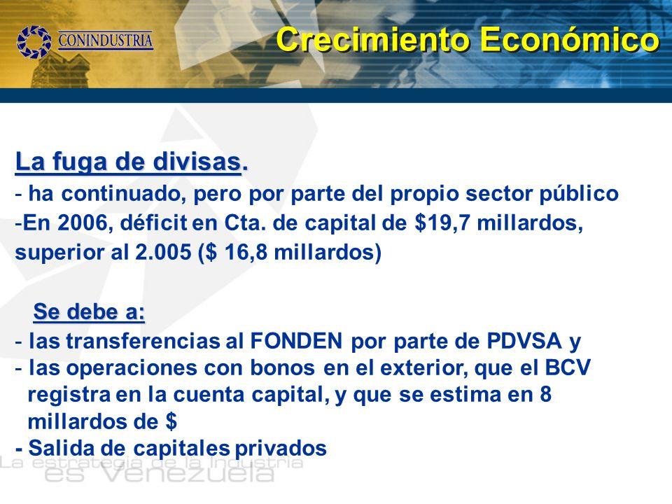La fuga de divisas. - ha continuado, pero por parte del propio sector público -En 2006, déficit en Cta. de capital de $19,7 millardos, superior al 2.0