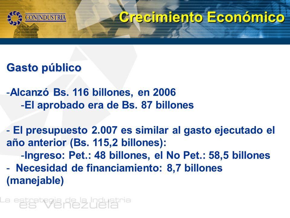 Gasto público -Alcanzó Bs. 116 billones, en 2006 -El aprobado era de Bs. 87 billones - El presupuesto 2.007 es similar al gasto ejecutado el año anter