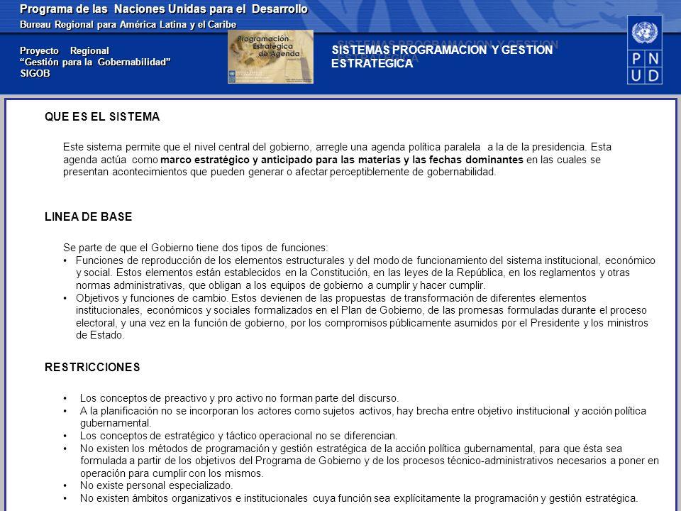 Programa de las Naciones Unidas para el Desarrollo Bureau Regional para América Latina y el Caribe Proyecto Regional Gestión para la Gobernabilidad SIGOB Se parte de que el Gobierno tiene dos tipos de funciones: Funciones de reproducción de los elementos estructurales y del modo de funcionamiento del sistema institucional, económico y social.