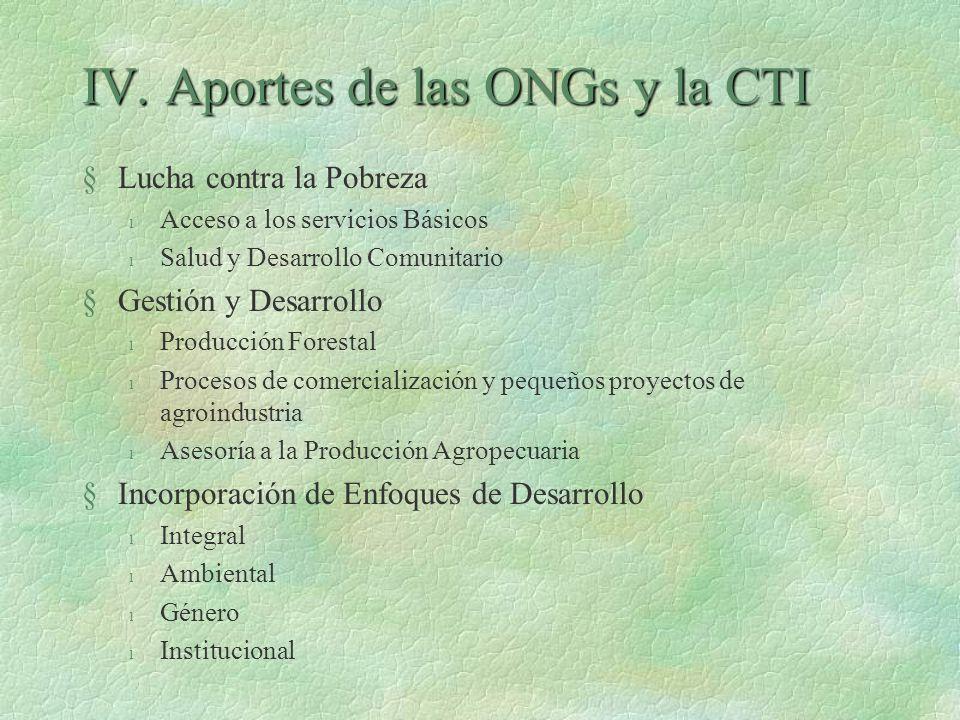 IV. Aportes de las ONGs y la CTI §Lucha contra la Pobreza l Acceso a los servicios Básicos l Salud y Desarrollo Comunitario §Gestión y Desarrollo l Pr