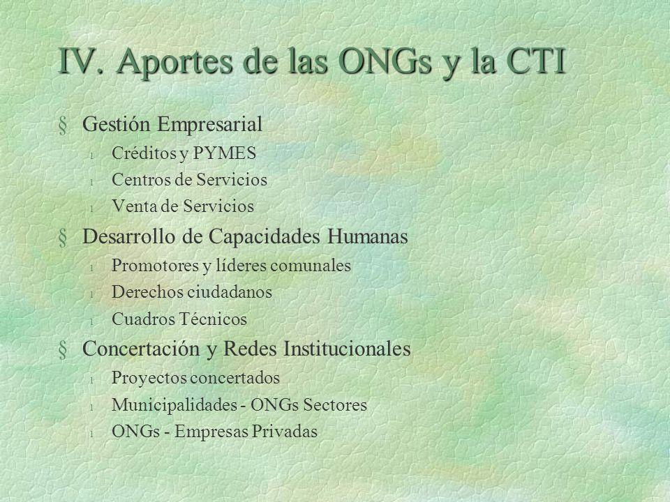 IV. Aportes de las ONGs y la CTI §Gestión Empresarial l Créditos y PYMES l Centros de Servicios l Venta de Servicios §Desarrollo de Capacidades Humana