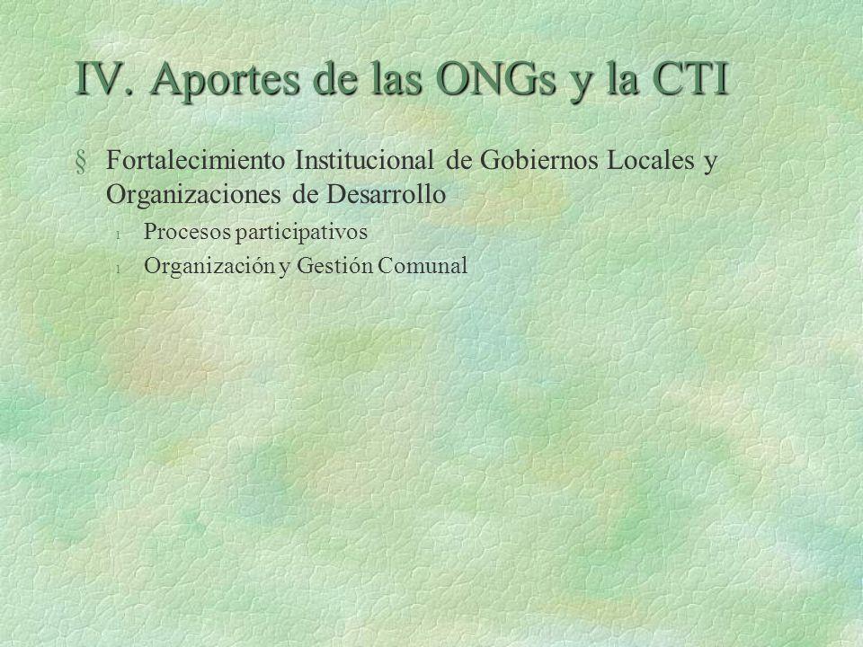 IV. Aportes de las ONGs y la CTI §Fortalecimiento Institucional de Gobiernos Locales y Organizaciones de Desarrollo l Procesos participativos l Organi