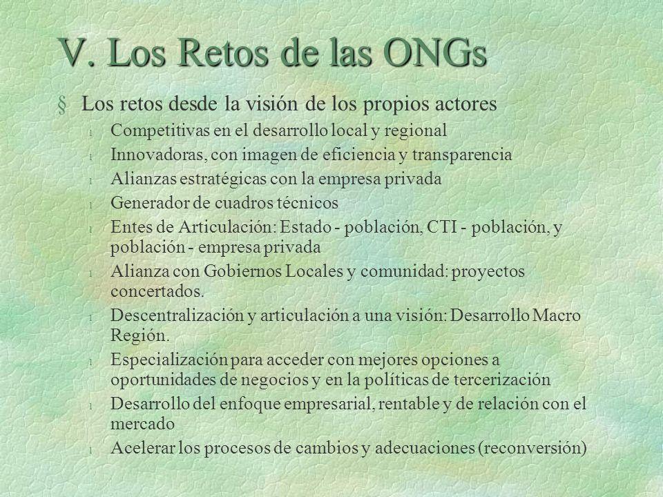 V. Los Retos de las ONGs §Los retos desde la visión de los propios actores l Competitivas en el desarrollo local y regional l Innovadoras, con imagen