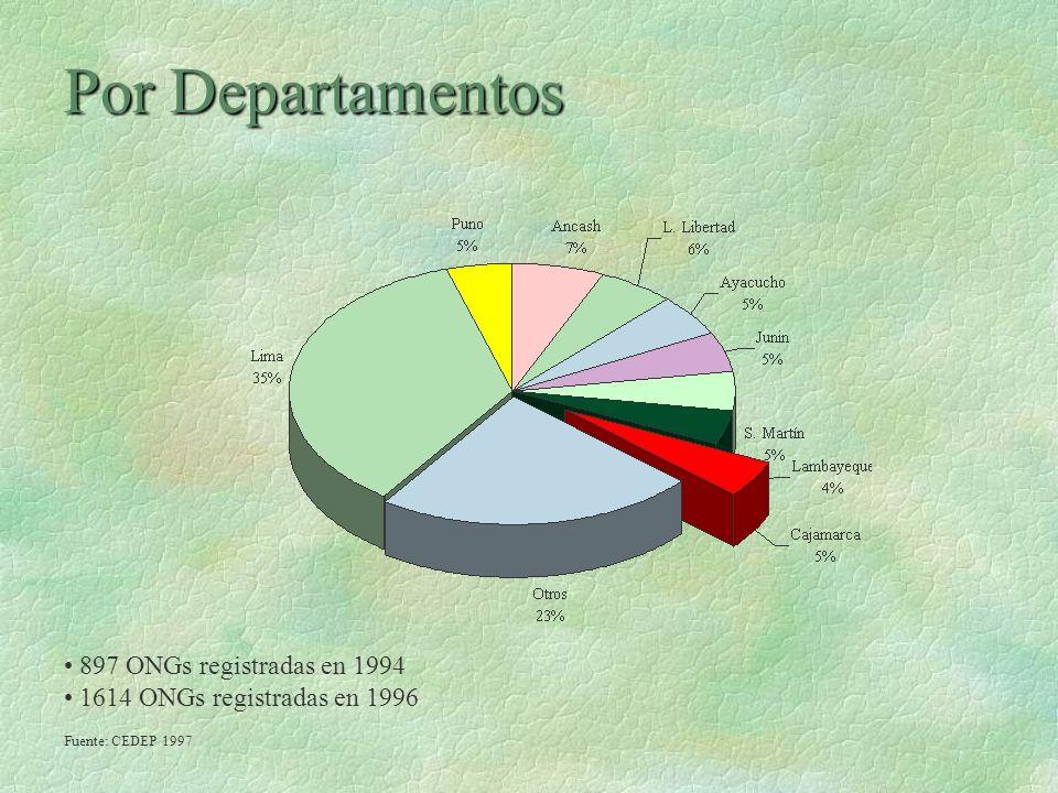 Por Departamentos 897 ONGs registradas en 1994 1614 ONGs registradas en 1996 Fuente: CEDEP 1997