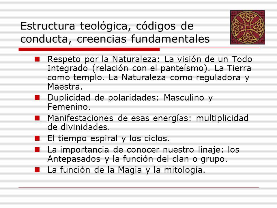 Estructura teológica, códigos de conducta, creencias fundamentales Respeto por la Naturaleza: La visión de un Todo Integrado (relación con el panteísmo).