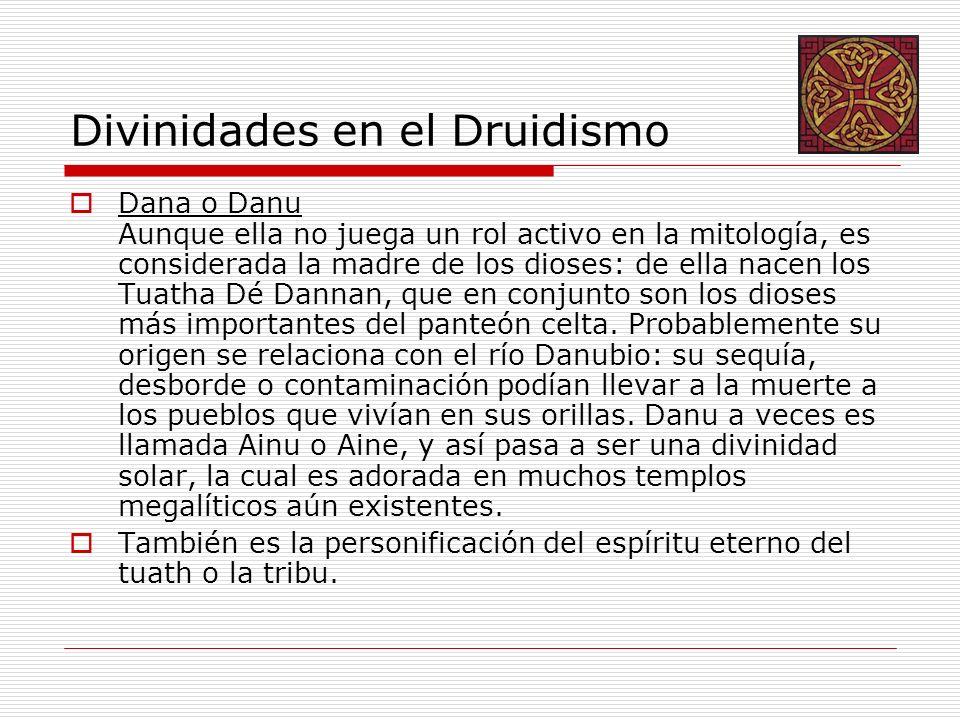 Divinidades en el Druidismo Dana o Danu Aunque ella no juega un rol activo en la mitología, es considerada la madre de los dioses: de ella nacen los Tuatha Dé Dannan, que en conjunto son los dioses más importantes del panteón celta.