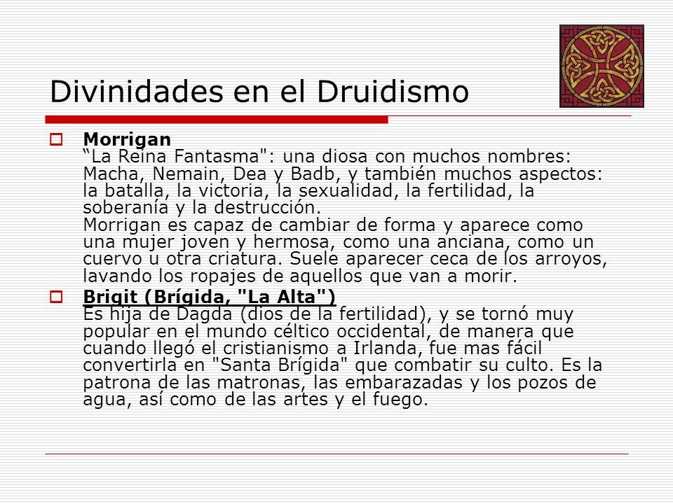 Divinidades en el Druidismo Morrigan La Reina Fantasma : una diosa con muchos nombres: Macha, Nemain, Dea y Badb, y también muchos aspectos: la batalla, la victoria, la sexualidad, la fertilidad, la soberanía y la destrucción.