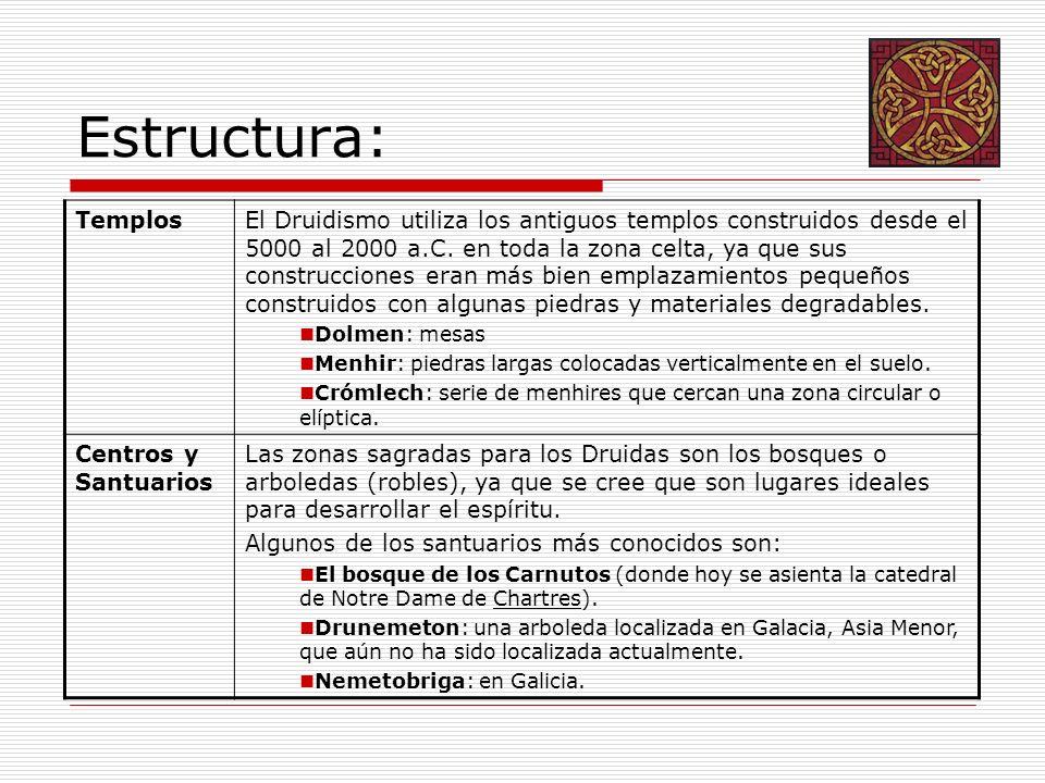 Estructura: TemplosEl Druidismo utiliza los antiguos templos construidos desde el 5000 al 2000 a.C. en toda la zona celta, ya que sus construcciones e