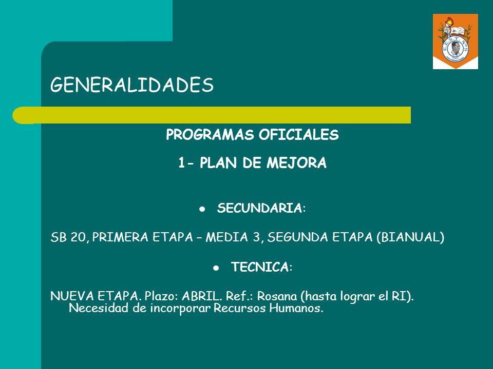 GENERALIDADES PROGRAMAS OFICIALES 1- PLAN DE MEJORA SECUNDARIA: SB 20, PRIMERA ETAPA – MEDIA 3, SEGUNDA ETAPA (BIANUAL) TECNICA: NUEVA ETAPA. Plazo: A