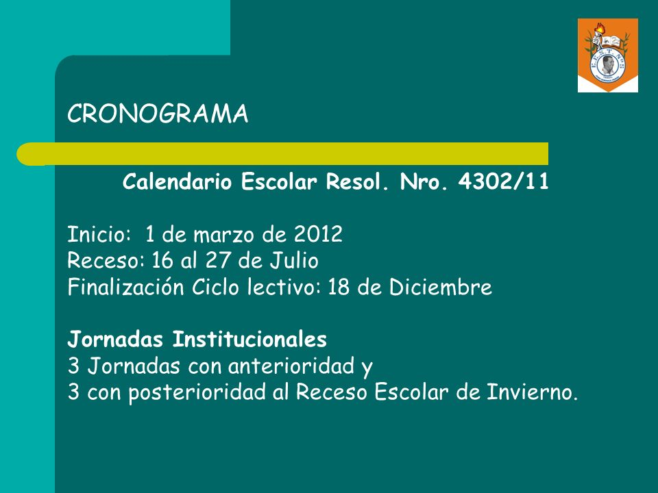 CRONOGRAMA Calendario Escolar Resol.Nro.