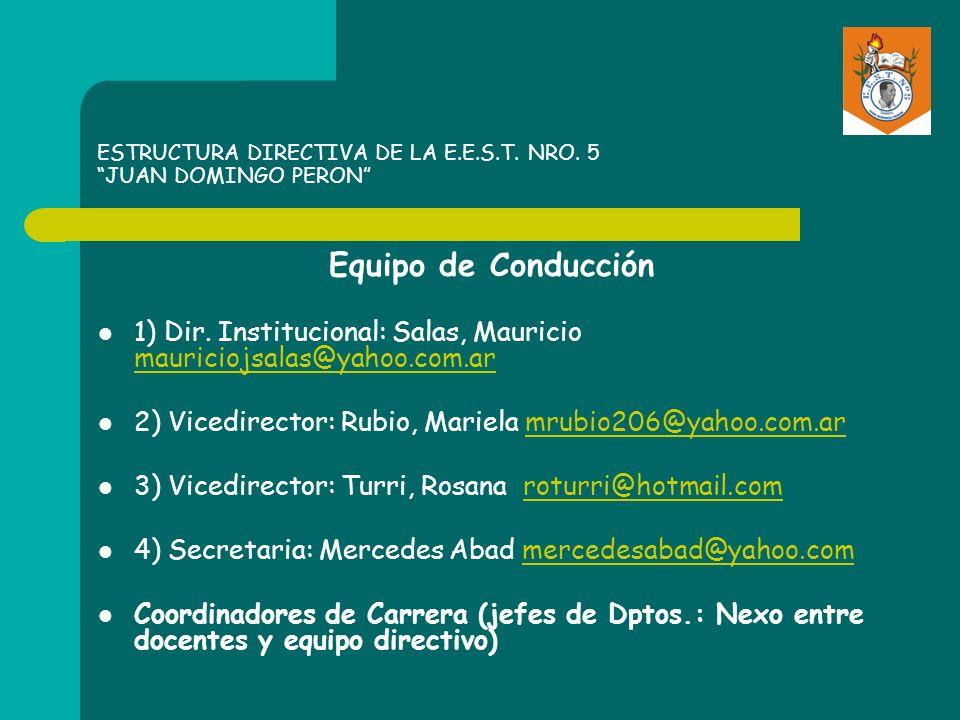 ESTRUCTURA DIRECTIVA DE LA E.E.S.T. NRO. 5 JUAN DOMINGO PERON Equipo de Conducción 1) Dir. Institucional: Salas, Mauricio mauriciojsalas@yahoo.com.ar