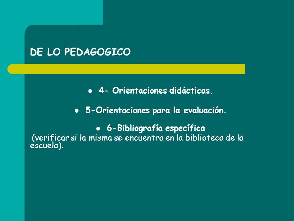 DE LO PEDAGOGICO 4- Orientaciones didácticas. 5-Orientaciones para la evaluación. 6-Bibliografía específica (verificar si la misma se encuentra en la