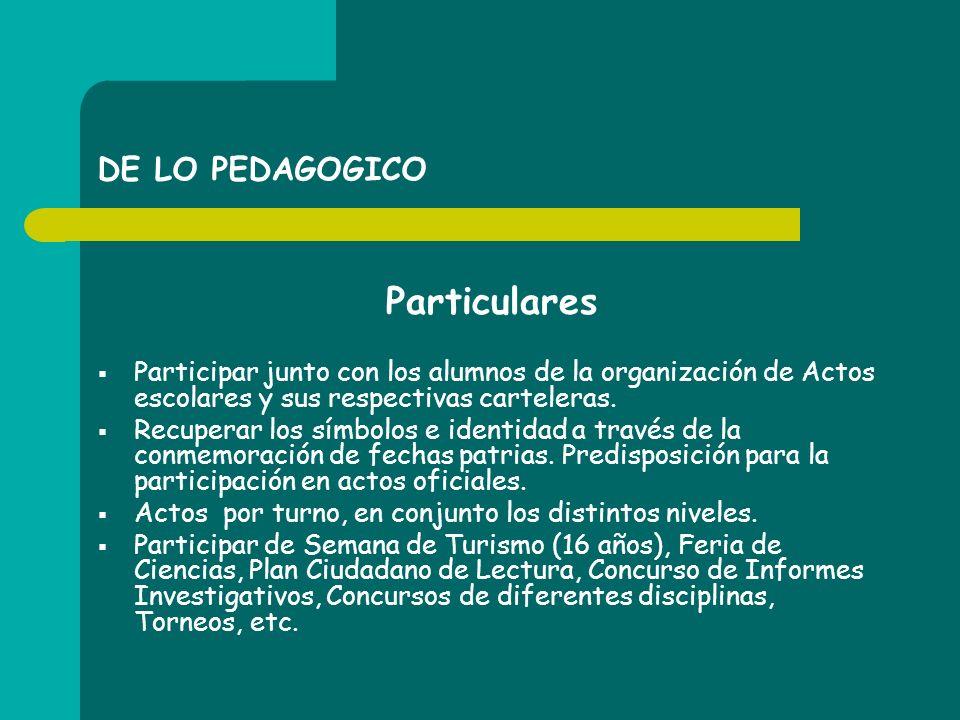 DE LO PEDAGOGICO Particulares Participar junto con los alumnos de la organización de Actos escolares y sus respectivas carteleras. Recuperar los símbo