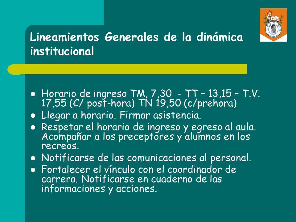 Lineamientos Generales de la dinámica institucional Horario de ingreso TM, 7,30 - TT – 13,15 – T.V. 17,55 (C/ post-hora) TN 19,50 (c/prehora) Llegar a