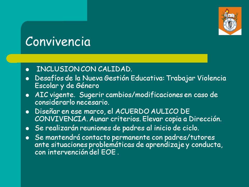 Convivencia INCLUSION CON CALIDAD. Desafíos de la Nueva Gestión Educativa: Trabajar Violencia Escolar y de Género AIC vigente. Sugerir cambios/modific