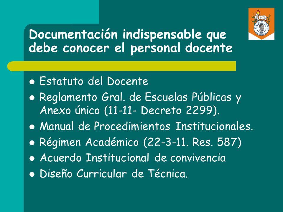 Documentación indispensable que debe conocer el personal docente Estatuto del Docente Reglamento Gral. de Escuelas Públicas y Anexo único (11-11- Decr