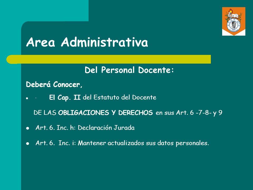 Area Administrativa Del Personal Docente: Deberá Conocer, · El Cap. II del Estatuto del Docente DE LAS OBLIGACIONES Y DERECHOS en sus Art. 6 -7-8- y 9