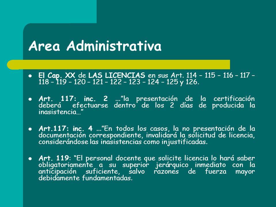 Area Administrativa El Cap. XX de LAS LICENCIAS en sus Art. 114 – 115 – 116 – 117 – 118 – 119 – 120 – 121 – 122 – 123 – 124 – 125 y 126. Art. 117: inc