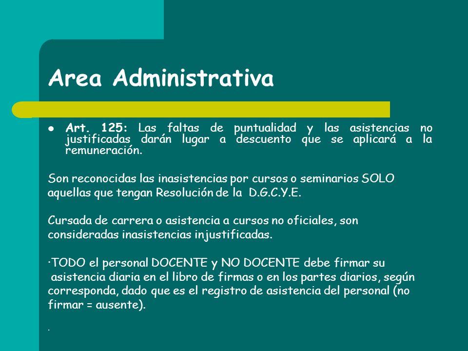 Area Administrativa Art. 125: Las faltas de puntualidad y las asistencias no justificadas darán lugar a descuento que se aplicará a la remuneración. S