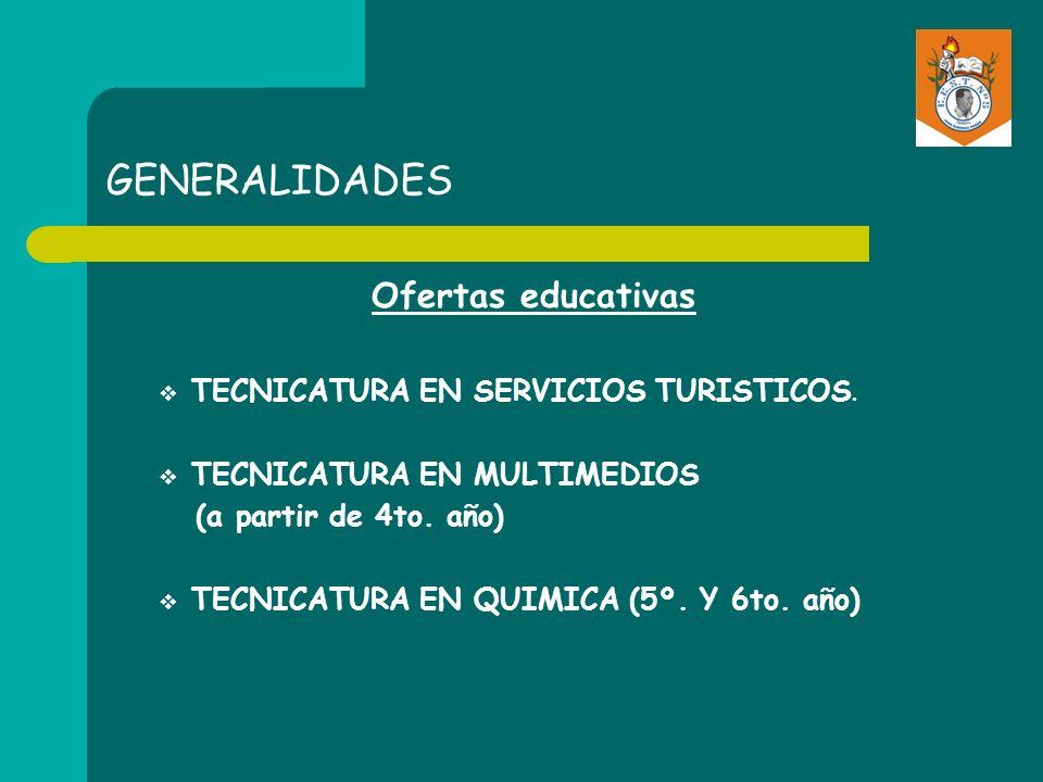 GENERALIDADES Ofertas educativas TECNICATURA EN SERVICIOS TURISTICOS. TECNICATURA EN MULTIMEDIOS (a partir de 4to. año) TECNICATURA EN QUIMICA (5º. Y