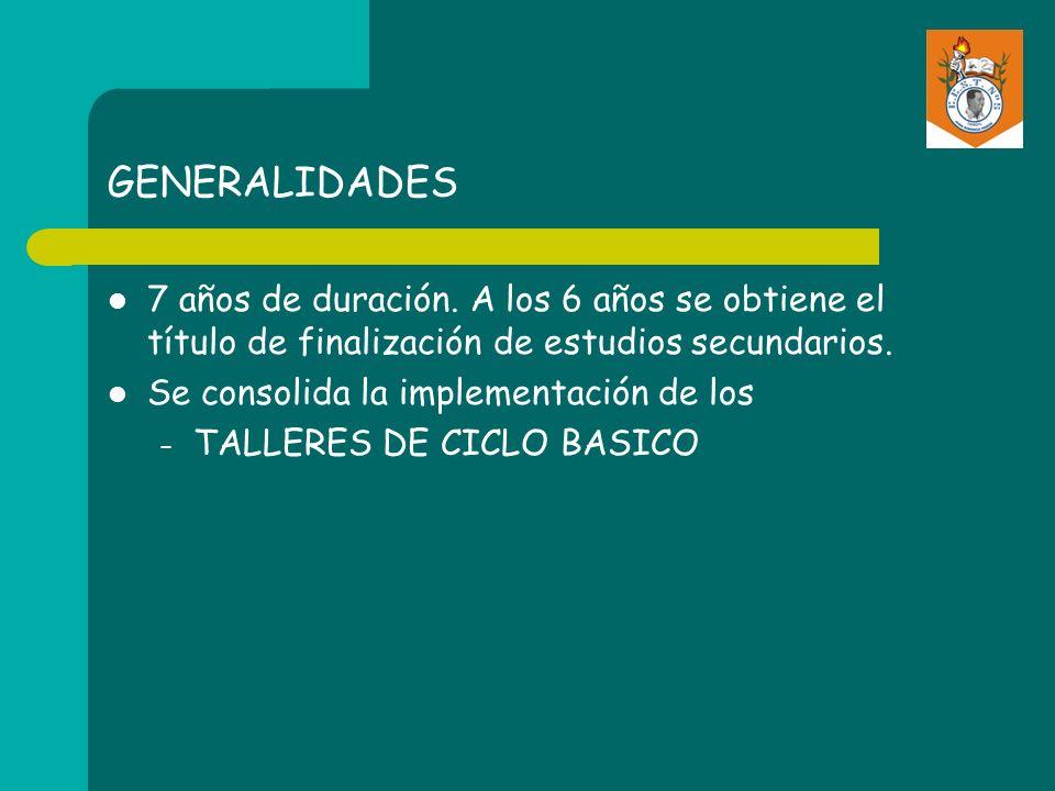 GENERALIDADES Bachillerato de Adultos Continúa el turno vespertino incorporando el 2do.