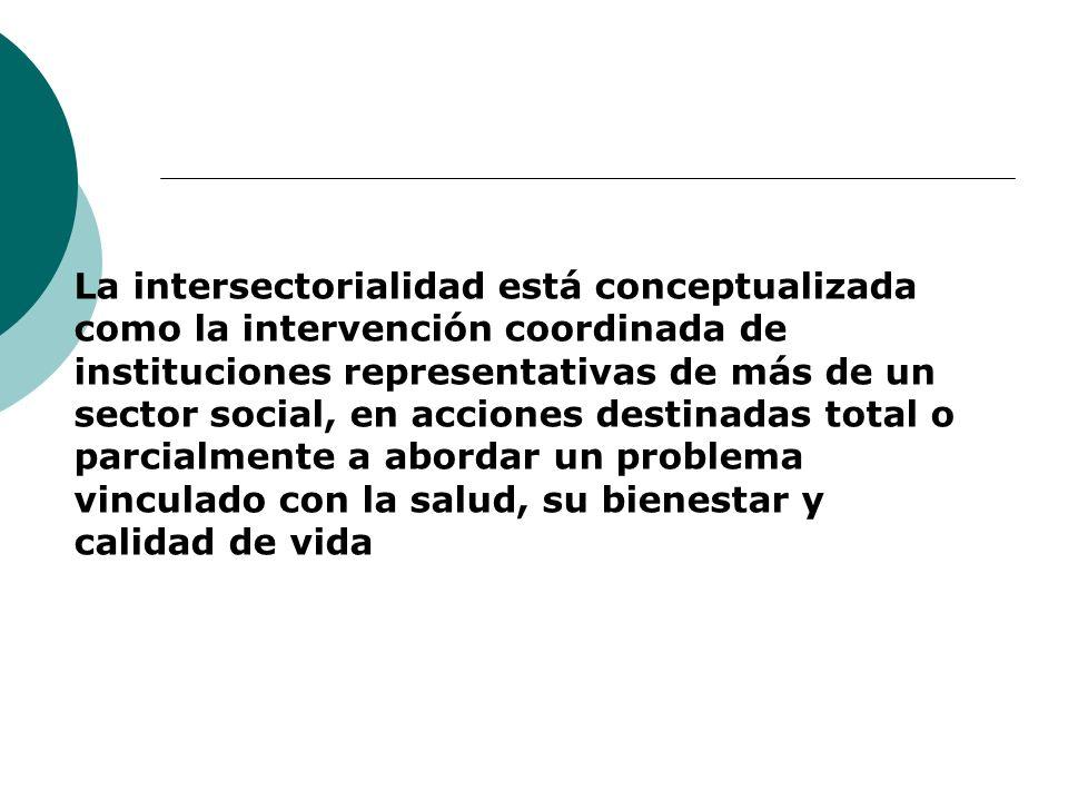 La intersectorialidad está conceptualizada como la intervención coordinada de instituciones representativas de más de un sector social, en acciones de