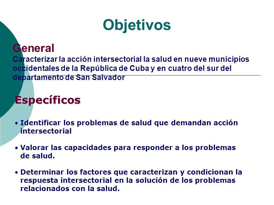 Objetivos General Caracterizar la acción intersectorial la salud en nueve municipios occidentales de la República de Cuba y en cuatro del sur del depa