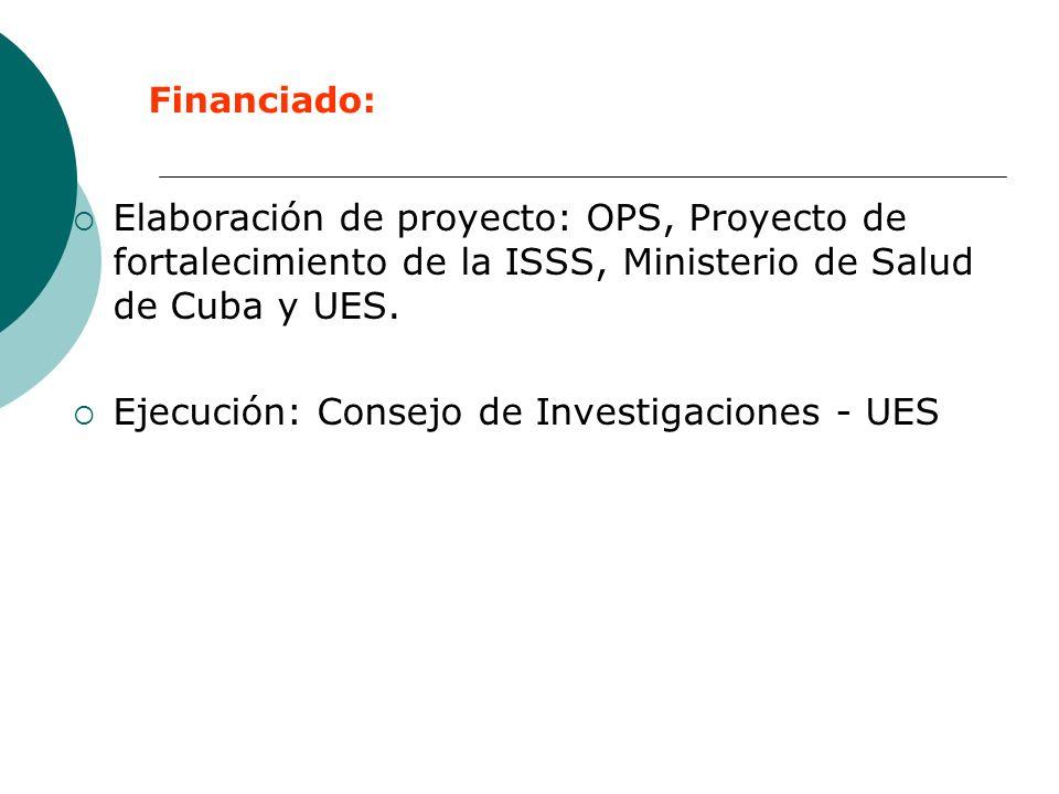 Elaboración de proyecto: OPS, Proyecto de fortalecimiento de la ISSS, Ministerio de Salud de Cuba y UES. Ejecución: Consejo de Investigaciones - UES F