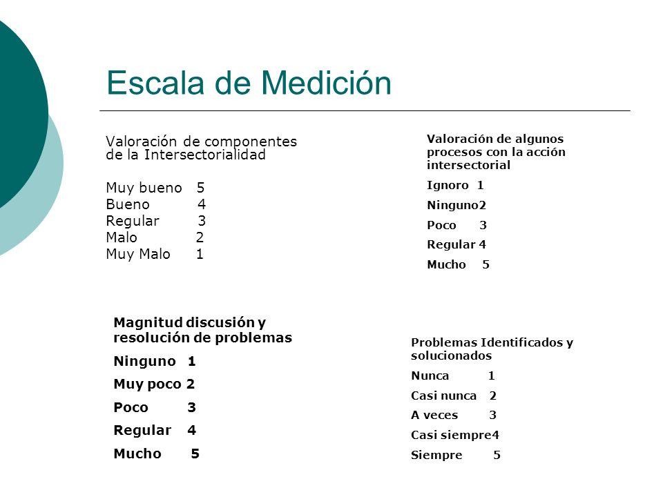 Escala de Medición Valoración de componentes de la Intersectorialidad Muy bueno 5 Bueno 4 Regular 3 Malo 2 Muy Malo 1 Valoración de algunos procesos c