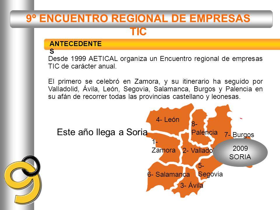 9º ENCUENTRO REGIONAL DE EMPRESAS TIC 1- Zamora 2- Valladolid 3- Ávila 4- León 5- Segovia 6- Salamanca 7- Burgos 2009 SORIA Desde 1999 AETICAL organiz