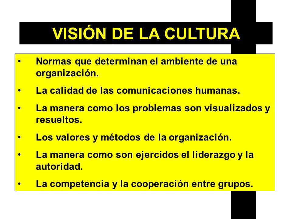 Normas que determinan el ambiente de una organización. La calidad de las comunicaciones humanas. La manera como los problemas son visualizados y resue